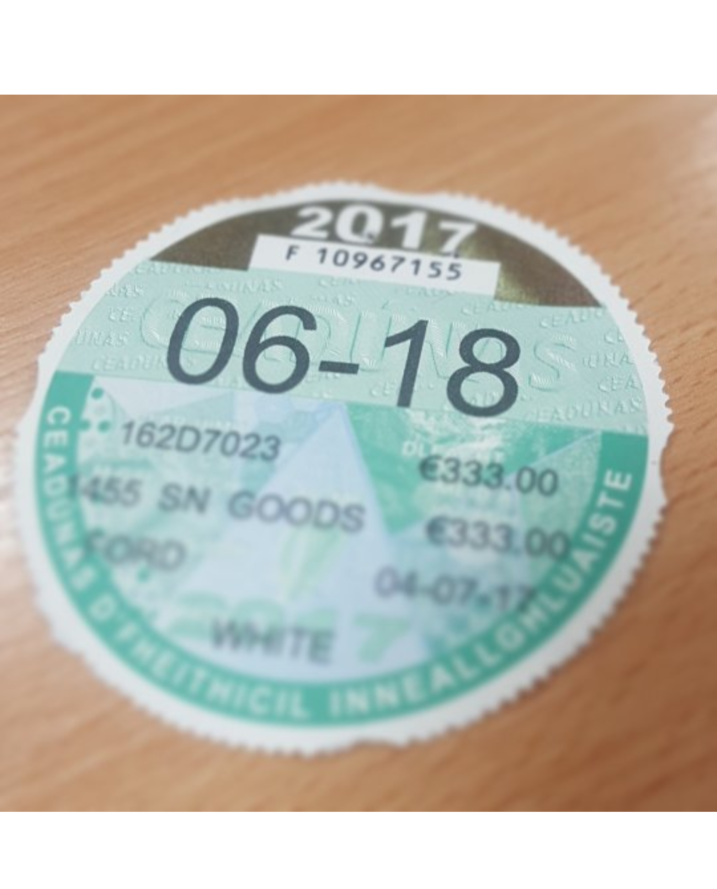 HB Dennis leasing - Replacement Tax Disc